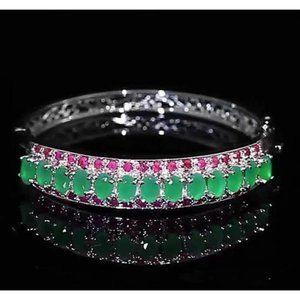 Jade Diamond Bangle Pink Sapphire 28.90 Carats Wom
